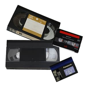 photo of various types of video tape to transfer
